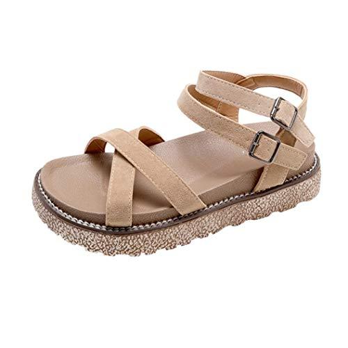 - FORUU Women's Vintage Flat Ankle Cross Straps Buckles Beach Shoes Roman Slippers Beige