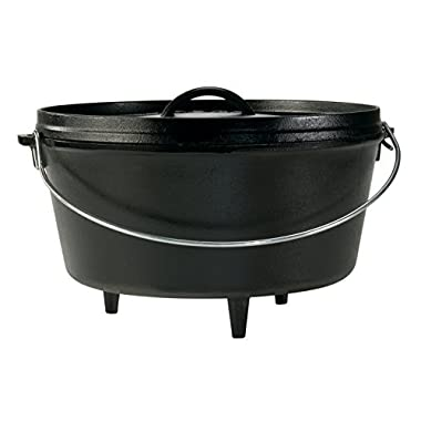 Lodge 8 Quart Camp Dutch Oven. 12 Inch Pre Seasoned Cast Iron Pot and Lid with Handle for Camp Cooking