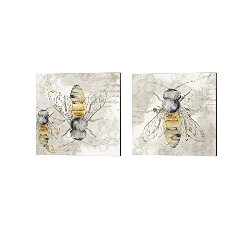 (Queen Bee by Eva Watts, 2 Piece Canvas Art Set, 14 X 14 Inches Each, Insect Art)