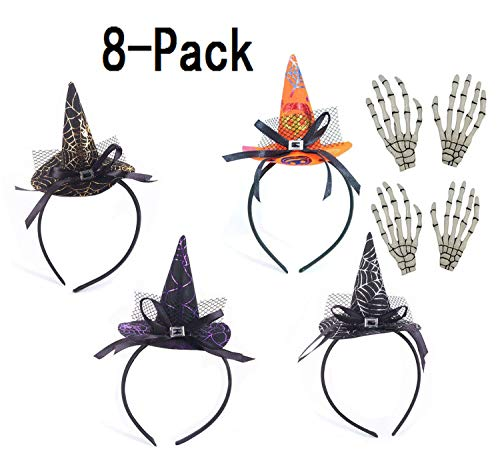 GEOOT 4 Pack Halloween Headband+4 Pcs Hand bone hairpin - Halloween Party Witch Spider & Pumpkin Hat Headbands Caps Headband Accessory For Party (8 Pack)]()