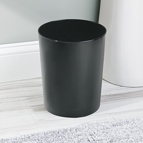 mDesign Round Metal Small Trash Can Wastebasket, Garbage Container Bin for Bathrooms, Powder Rooms, Kitchens, Home Offices - Durable Steel with Black Finish