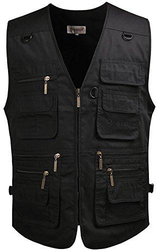 Kaily Herren Frühling Freizeit Multi-Tasche Jeans Weste Jacke (Schwarz,EU XL(Asien 4XL))