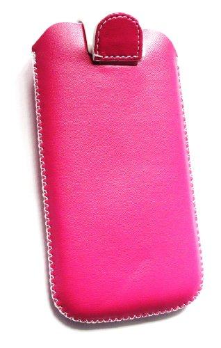 Emartbuy ® Hot Pink / Blanc Premium En Cuir Pu Faites Glisser Pouch / Case / Sleeve / Holder (Grande Taille) Avec Mécanisme De La Tirette Adapté Pour Apple Iphone 4S 4G 4Gs Hd