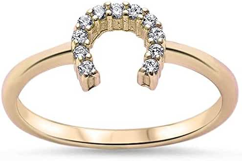 Sterling Silver Lucky Horseshoe Cubic Zirconia Ring - Choose Your Color