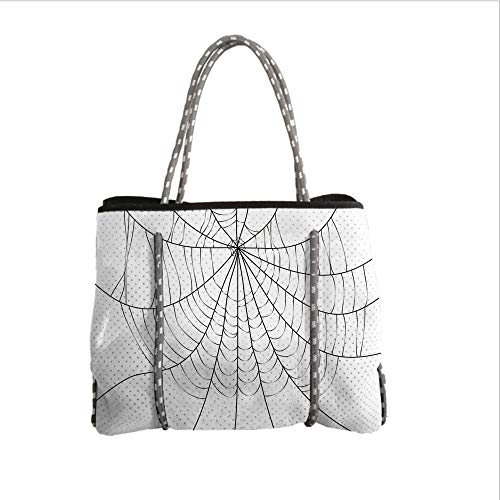 iPrint Neoprene Multipurpose Beach Bag Tote Bags,Spider Web,Close Up Cobweb Design Monochrome Design Elements Catching Network Fear Decorative,Grey Black White,Women Casual Handbag Tote Bags ()