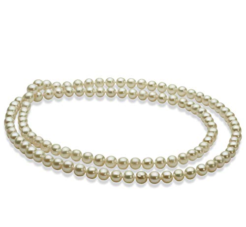 30 inches White 6-7mm AA Quality Freshwater Cultured Pearl Necklace for Women-30 in Length