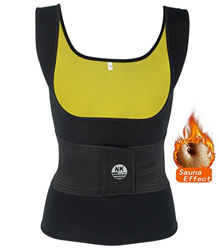 Danger Black T-shirt (DODOING Adjustable Womens Hot Sweat Sauna Waist Trainer Vest Neoprene Tank Top Body Shaper Shirt Tummy Fat Burner Slimming Vest Weight Loss Shapewear Black)