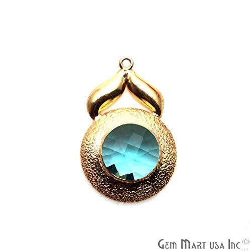 (Blue Topaz Gemstone Pendant, Gold Plated, Single Bail Pendant, Faceted Gemstone, 32X21MM, Round Bracelet Charms, DIY Earrings, GemMartUSA (GPHB-50193))