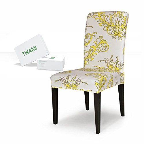TIKAMI 4PCS Spandex Printed Fit Stretch Dinning Room Chair Slipcovers (4, Yellow) (Chair Yellow Wingback)