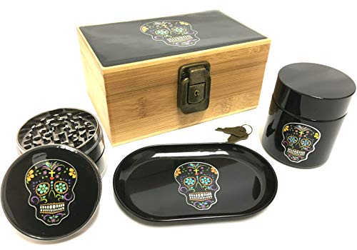 Fess Product Day Of The Dead Stash Box Combo – 2.5 Inch Heavy Full Size Titanium 4 Part Herb Grinder – DOD UV Glass stash jar – Day Of the Dead Wood Bamboo Box