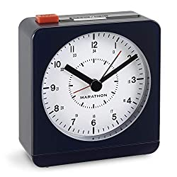 Marathon CL030053MB Silent Non-Ticking Alarm Clock with Warm Amber Auto Back Light and Repeating Snooze. Color-Midnight Blue