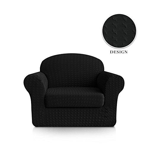 Subrtex 2-Piece Print Jacquard Spandex Fabric Stretch Sofa Slipcovers (Chair, Black)