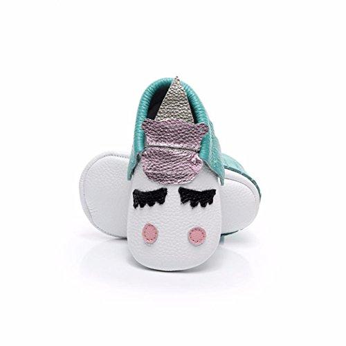 SYY 0-2 Jahre alt Baby-Kleinkind-neugeborene Mädchen-Jungen-Karikatur-Druck-weiche alleinige beiläufige Schuhe Grün