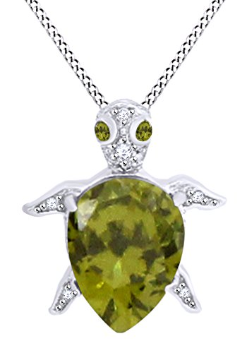 AFFY Pear Shape Simulated Peridot & White Cubic Zirconia Turtle Pendant in 14k White Gold Over Sterling Silver