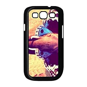 Samsung Galaxy S3 Case, Elephant and Butterly Two of the Most Beautiuful and Majestic Animals Men Luxury Case for Samsung Galaxy S3 {Black}