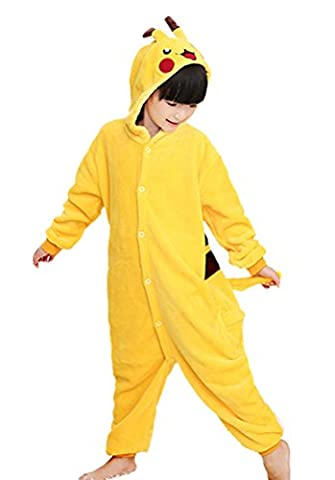 Horcute Unisex-Children Animal Cartoon Cosplay Kigurumi Onesie Pajamas ,Pikachu-125