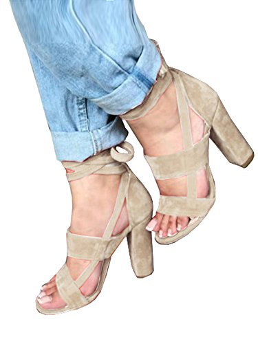 Syktkmx Womens Pumps and Heels Strappy Lace Up Peep Toe Ankle Wrap Block Heel Summer Sandals ()