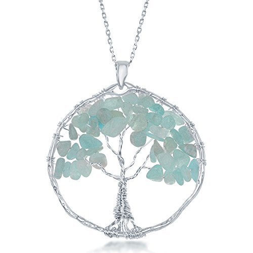 - Sterling Silver Aquamarine Natural Quartz Gemstone Beads Tree of Life 30