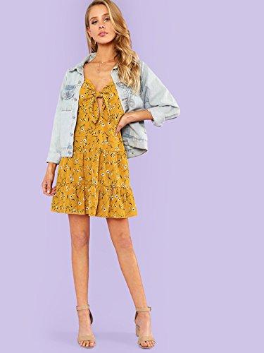 Tassel Dress Spaghetti Hem Women's Milumia Yellow Trim Bohemian Floral Cami Strap Ruffle qvWW0tw