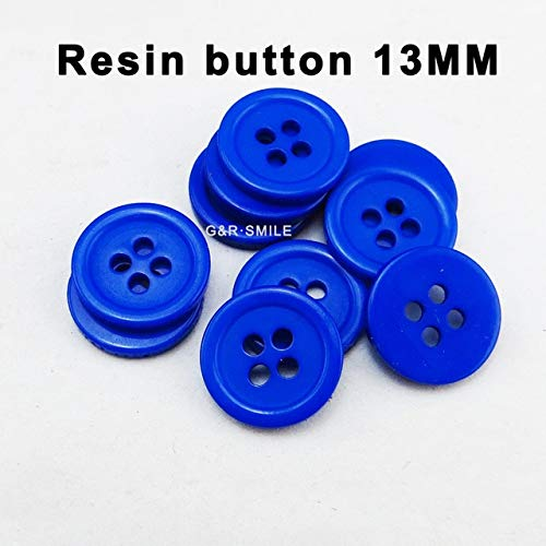 Maslin 100PCS 13MM Pearl Dyed Resin Shirt Sapphire Blue Button Sweater Decoration garmen Buttons Coat Sewing Clothes Accessory PN-001 - (Color: Dark Blue)