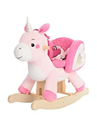 Labebe Child Rocking Horse Toy, Pink Rocking Horse Plush, Unicorn Rocker Toy for Kid 6-36 Months, Stuffed Animal Rocker Toy/Child Rocking Toy for Girl/Wooden Rocking Horse Pink/Rocker/Animal Ride on BOBEBE Online Baby Store From New York to Miami and Los Angeles