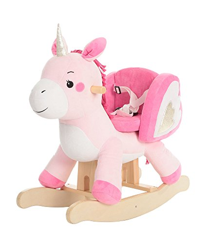 labebe Child Rocking Horse Toy, Pink Rocking Horse Plush, Unicorn Rocker Toy for Kid 1-3 Years, Stuffed Animal Rocker Toy/Child Rocking Toy for Girl/Wooden Rocking Horse Pink/Rocker/Animal Ride on Antique Wooden High Chair