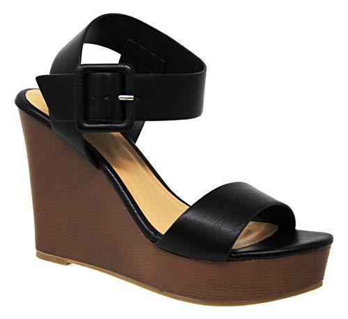(MVE Shoes Women's Open Toe High Heel Wood Platform Sandals, Compact Black PU 8)