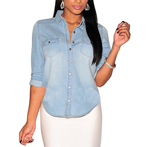 Denim Casual Manches Slim CHIC Jeans Bouton Femme CHIC Longues Vintage Chemisier Clair 4O8SxBw