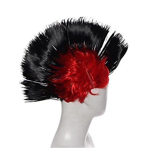 Yinpinxinmao Party Masquerade Wigs Funny Punk Mohawk Mohican Hairstyle (Black)