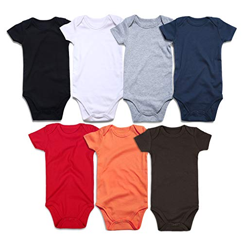 RomperinBox Unisex Solid Multicolor Baby Bodysuits 0-24 Months (BK W G R N O B Short Sleeve 7 Pack, 12-18 Months) from RomperinBox