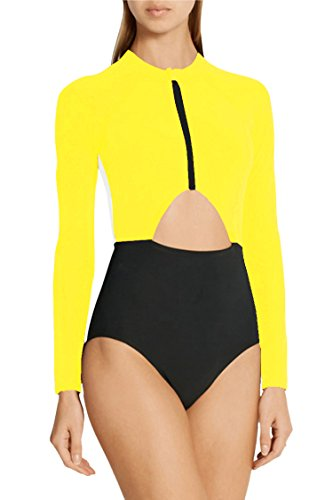 Pink Queen Women's Hollow Out Zip-up One-piece Rashguard Bodysuit Yellow 2XL