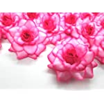 100-Silk-Hot-Pink-Edge-Roses-Flower-Head-175-Artificial-Flowers-Heads-Fabric-Floral-Supplies-Wholesale-Lot-for-Wedding-Flowers-Accessories-Make-Bridal-Hair-Clips-Headbands-Dress