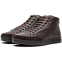 OPP Men's Fashion Classic High Top Leather Shoes Lace Up,Brown,9.5 D(M) US