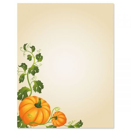 Pumpkin Vines Fall Letter Papers - Fall stationery papers are 8-1/2