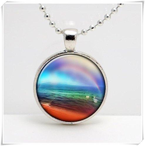 (Rainbow Ocean Altered Art glass Pendant ,Artistic Pendant,Dome glass jewelry, pure handmade)