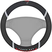 """FANMATS 15629 NFL Tampa Bay Buccaneers Embroidered Steering Wheel Cover, Black, Universal 15"""" Dia"""