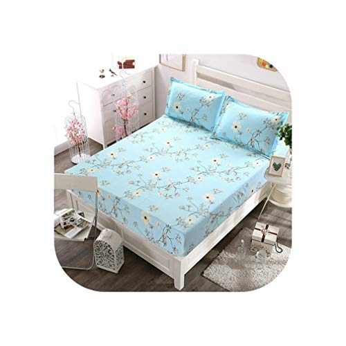 little-kawaii bedding set Bed Sheet with Pillowcase Blue Flower Printed Bed Linen Queen Size Mattress Covers Fitted Sheet Sets with Elastic for King Size,Type 10,180x200cm