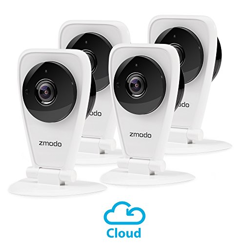 4 Wireless Color Cameras (Zmodo 4-Pack EZCam HD Wireless Kid and Pet Monitoring Security Camera with Night Vision, Two Way Audio - Cloud Service Available)