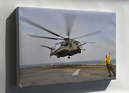 Canvas 16x24; H-53E H-53 Sea Stallion Helicopter Aboard Amphibious Assault Ship Uss Essex (Lhd 2)