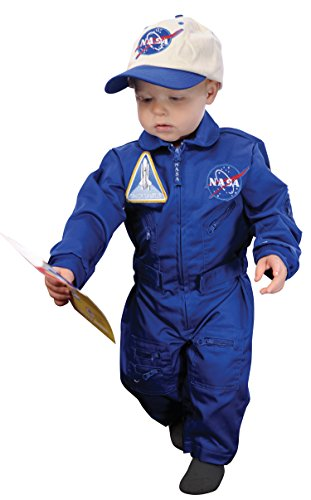 Aeromax Jr. NASA Flight Suit, Blue, with Embroidered Cap and official looking patches, size 18 (Adult Nasa Flight Suit)