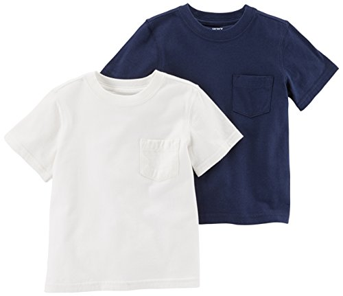 Carter's Baby Boys' 2-Pack Tee, Navy/White, 18 (White Infant T-shirt)