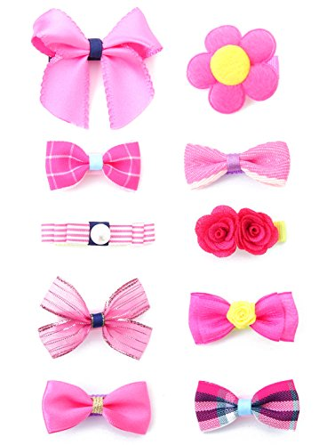 Belle Beau Baby Girls Hair Bows, Hair Clips, Ribbon Lined Alligator Hair Clips (Z-Dix-A)