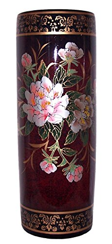 ADI #7532 Oriental Floral and bird with Burgundy Background 24