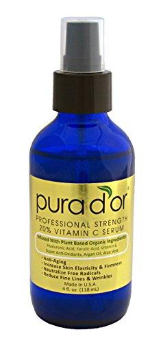 PURA D'OR 20% Vitamin C Serum Professional Strength Anti-Aging Skin Therapy Organic Argan Oil, Hyaluronic Acid & Vitamin E, 4 Fluid Ounce