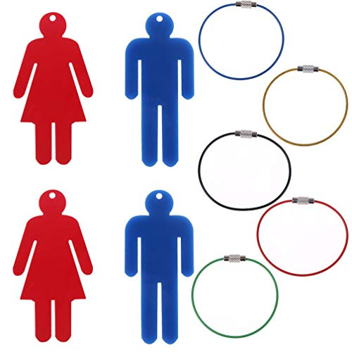 OBANGONG 4 Pcs Men's & Women's Acrylic Restroom Keychain Tags with 5 Pcs Wire Rings for Office Bathroom Designating -