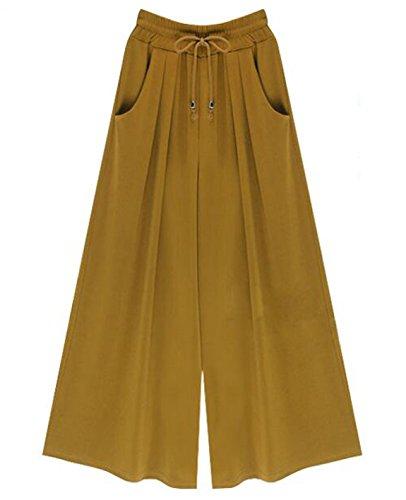 HOW'ON Women's Elastic Waist Wide Leg Casual Palazzo Capri Culottes Pants Plus Size Yellow L