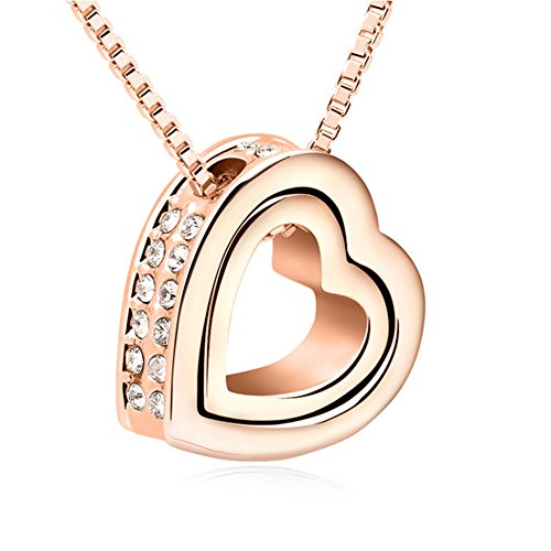 ShankMing Double Heart Shaped Pendant Necklace Crystal From Swarovski Jewelry Gifts on Valentine's Day (Rose)