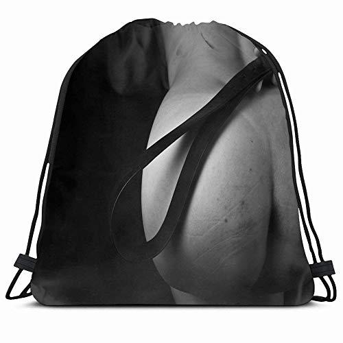 Ahawoso Drawstring Backpack String Bag 14X16 Gray Sexy Submissive Girl Waiting Punishment Spanking Bdsm People Body Spank Fifty Shades Bottom School Sex Sport Gym Sackpack Hiking Yoga Travel Beach