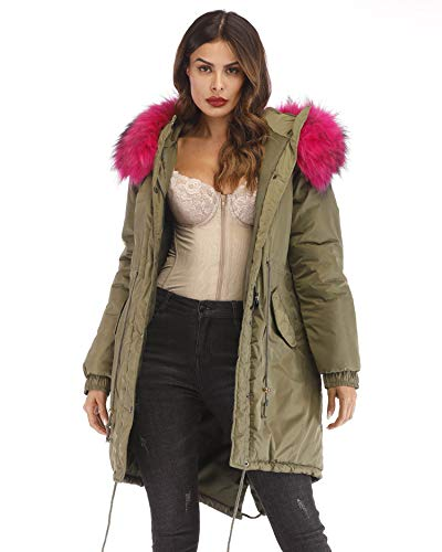 Aofur Women's Plus Size Winter Warm Long Thick Down Hooded Parka Coat Cardigan Zip Jacket Top Fashion Overcoat Outwear