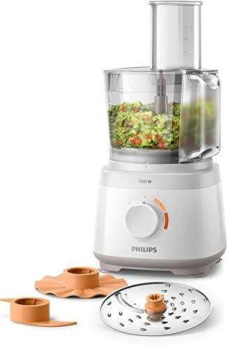 Philips Cucina HR7310/00 Robot da Cucina Multifunzione con Oltre 16 Funzioni, Disco 2-in-1 in Acciaio Inox, 700 W, 2.1 Litri, 80 Decibel, Plastica, Bianco